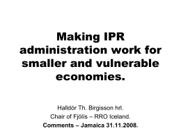 Making IPR administration work for smaller and