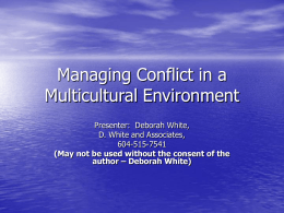 Managing Conflict in a Multicultural Environment