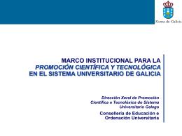 MARCO INSTITUCIONAL PARA LA PROMOCIÓN CIENTÍFICA Y