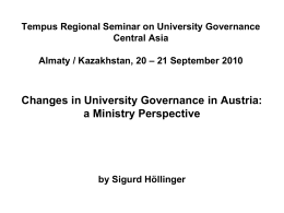 Changes in University Governance in Austria a