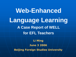 WELL – Web-Enhanced Language Learning