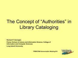 "The Concept of ""Authorities"" in Library Cataloging"