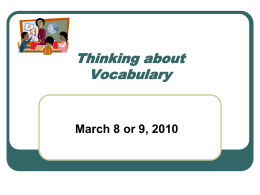 Thinking about Language Barriers: Vocabulary
