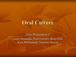 Oral Culture - University of Washington