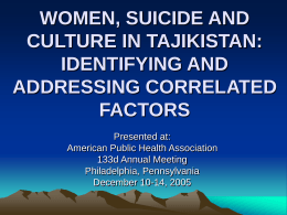 SUICIDE BY SELF-IMMOLATION AMONG TAJIK WOMEN