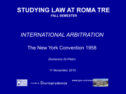 STUDYING LAW AT ROME TRE INTERNATIONAL ARBITRATION