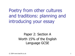 Poetry from other cultures and traditions -