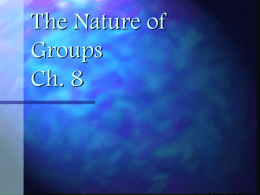 The Nature of Groups Ch. 8