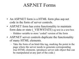 ASP.NET Forms - Monash University