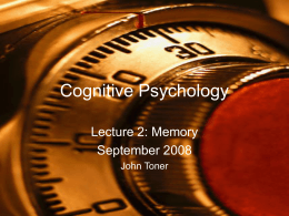 Cognitive Psychology - University College Dublin