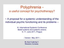 Systemische Therapie - ein theoretisches Update