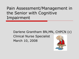 Pain Assessment/Management in the Senior with
