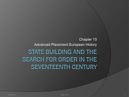State Building and the Search for Order in the