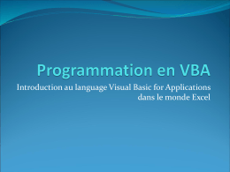 Programmation en VBA - Université Evry Val
