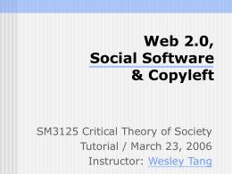 Web 2.0, Social Software & Copyleft - SCM Sweb -