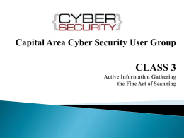 Capital Area Cyber Security User Group CLASS 3