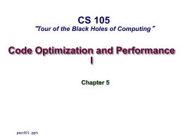 Code Optimization I