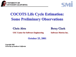 COTS Software Research Effort Status Briefing