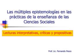 Las múltiples epistemologías en las prácticas de