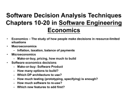 Software Decision Analysis Techniques Chapters