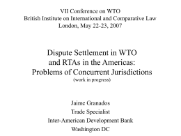 WTO and RTA Dispute Settlement: Is it Possible to