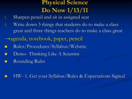 Physical Science Do Now - Glynn County School