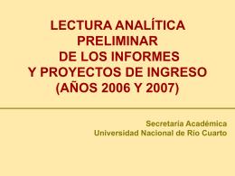 LECTURA ANALÍTICA PRELIMINAR DE LOS INFORMES Y