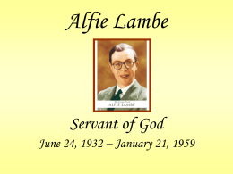 Alfie Lambe - Legion of Mary