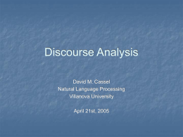 Discourse Analysis - Villanova University