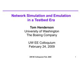 ns-3 tutorial - Tom Henderson