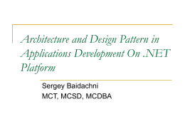 Architecture and Design Pattern in Applications