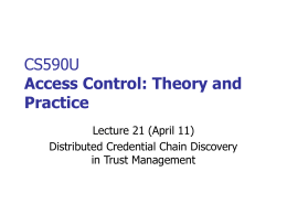 CS590U Access Control: Theory and Practice
