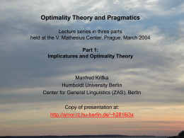 Optimality Theory and Pragmatics