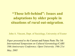 "Those left-behind"": Issues and adaptations by"