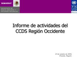Informe de actividades del CCDS Región Occidente