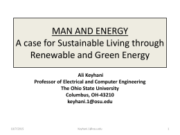 MAN AND ENERGY A case for Sustainable Living