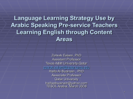 Language Learning Strategy Use by Arabic speaking