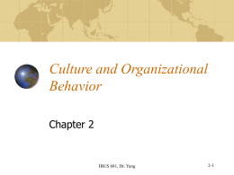Culture and OB - San Francisco State University