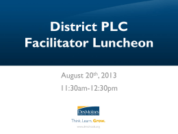 District PLC Facilitator Luncheon