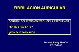 EPIDEMIOLOGÍA DE LA FIBRILACIÓN AURICULAR