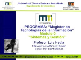 Magíster en Tecnologías de la Información