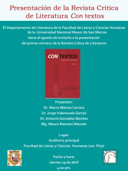 Presentación de la Revista Crítica de Literatura