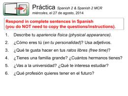 ¡Bienvenidos a la clase de español 2 MCR!