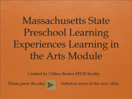 Massachusetts State Preschool Learning Experiences