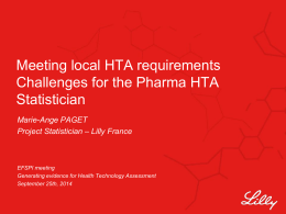 Meeting local HTA requirements Challenges for the