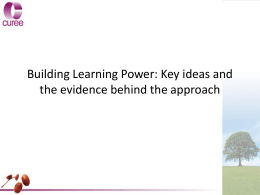Science: The Underpinnings of Building Learning