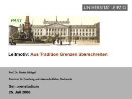 Universität Leipzig - Aus Tradition Grenzen