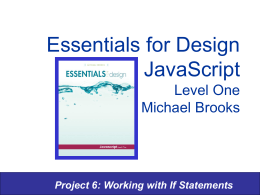 Essentials for Design JavaScript Level One Michael