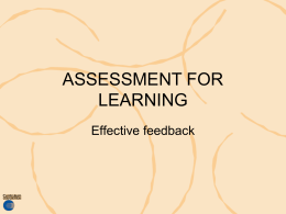 Assessment for learning: effective feedback -