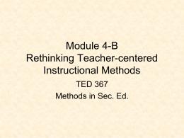 Teacher-centered Methods - Misericordia University